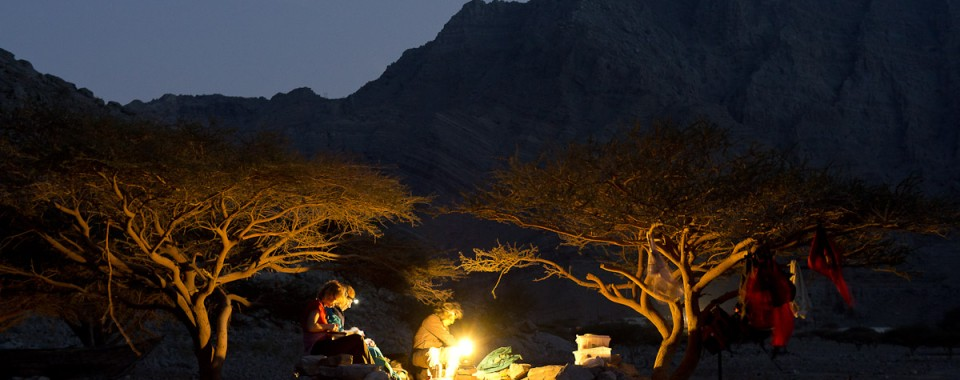 Campsite at sundown in the Musandam Region - Oman